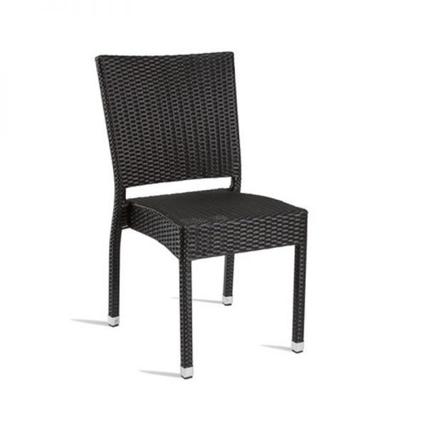Tazimo PE Wicker Side Kitchen Bar Stool - Black