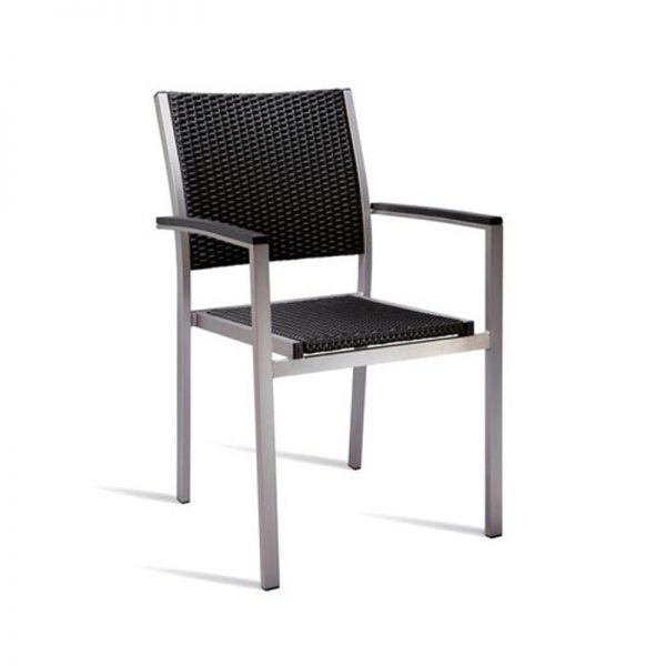 Sunny PE Wicker Arm Chair Kitchen Bar Stool - Black